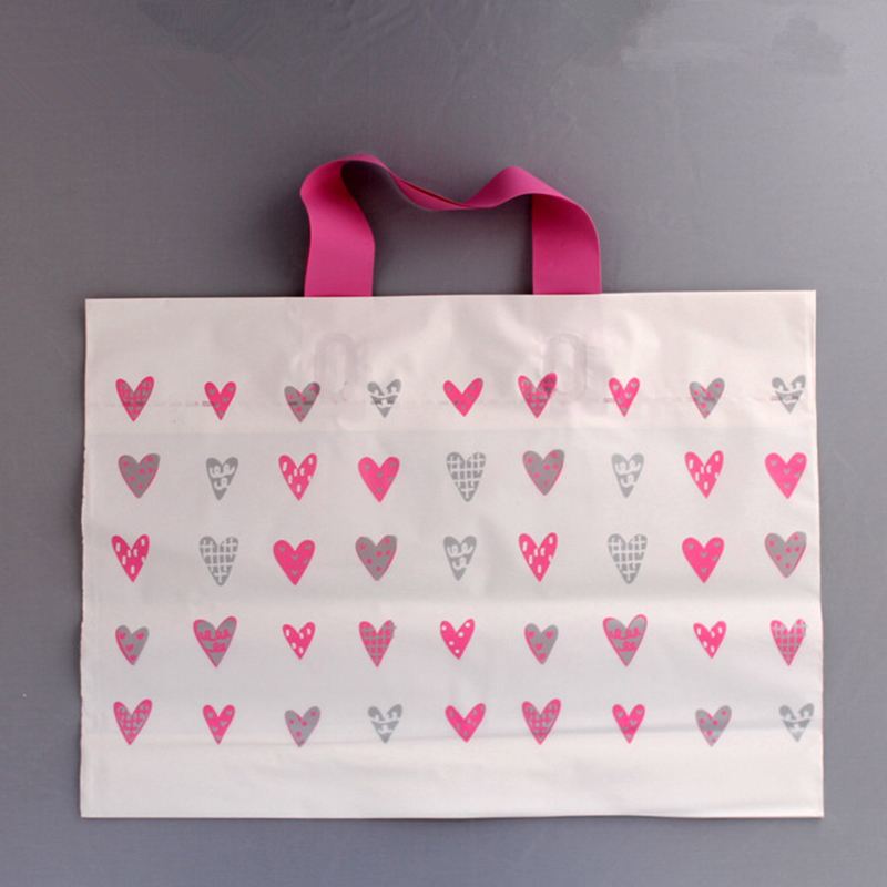 High Quality Heart Pattern Handle Gift Bag Plastic Shopping bags Wedding Candy Packaging Bags White Pink 35*25+5cm