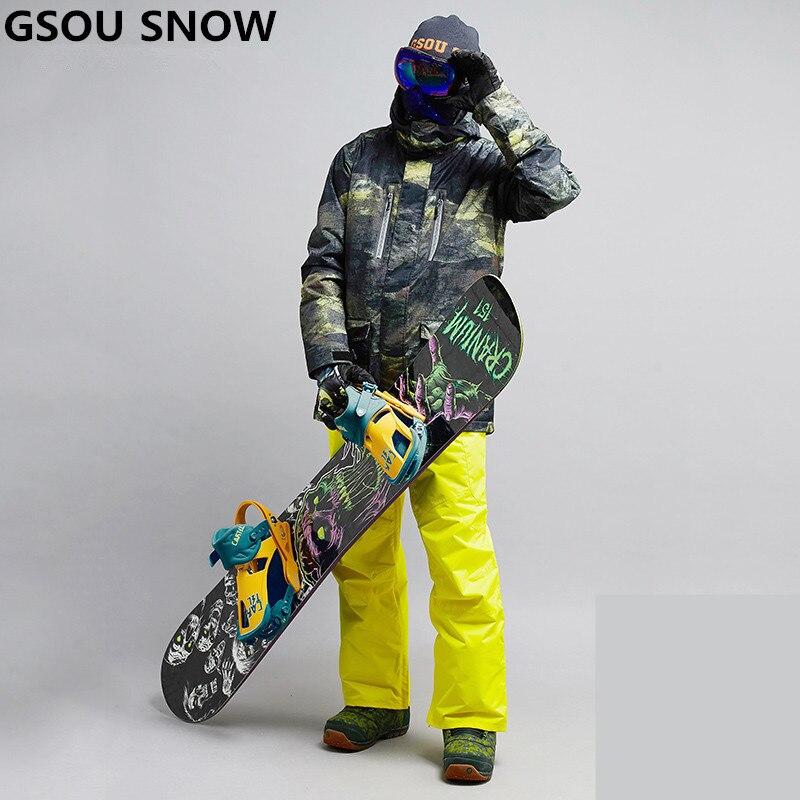 Gsou снег лыжный костюм для мужчин лыжная куртка Мотобрюки Зима Лыжный спорт Костюмы для мужчин Водонепроницаемый сноуборд Наборы для ухода ...