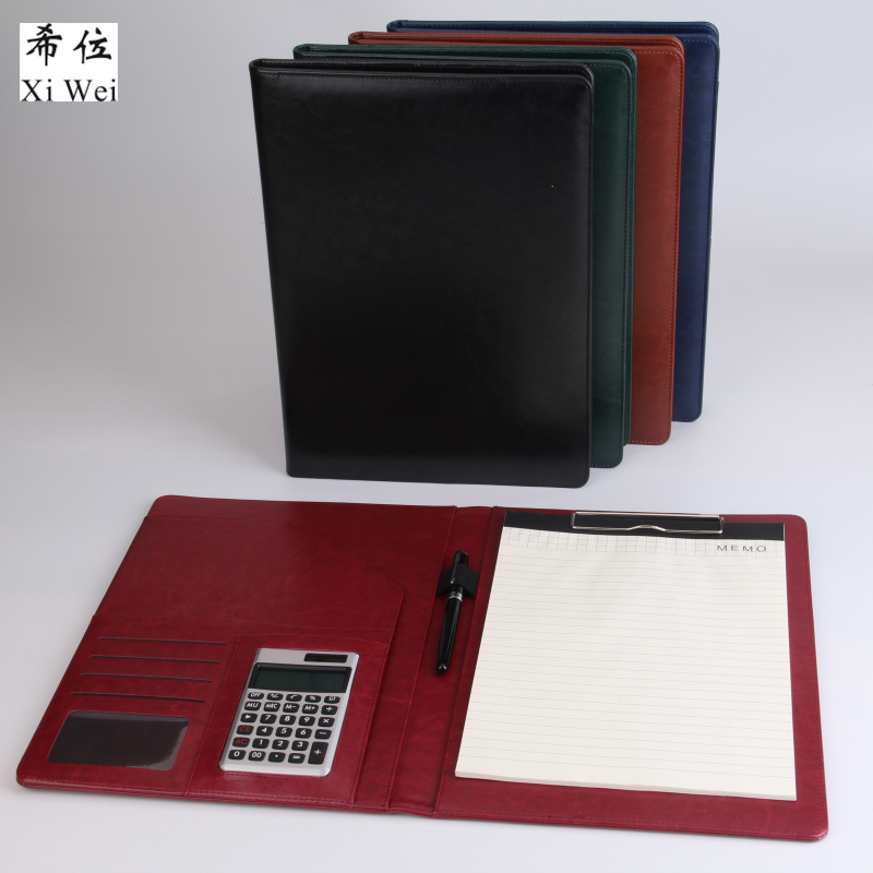 PU Leather Portfolio File Folder Bag Notepad  Multi-function Cardholder Bag Document Organizer Clip Calculator