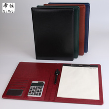 PU leather portfolio file folder bag notepad  Multi-function cardholder document organizer clip calculator