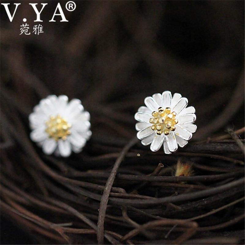 100% Real 925 ezüst Daisy fülbevaló a nőknek S925 Ezüst klasszikus krizantém Stud fülbevaló Új finom ékszerek CE151