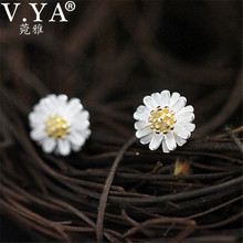 100% Real 925 Sterling Silver Daisy Earrings for Women S925 Silver Classic chrysanthemum Stud Earring New Fine Jewelry CE151