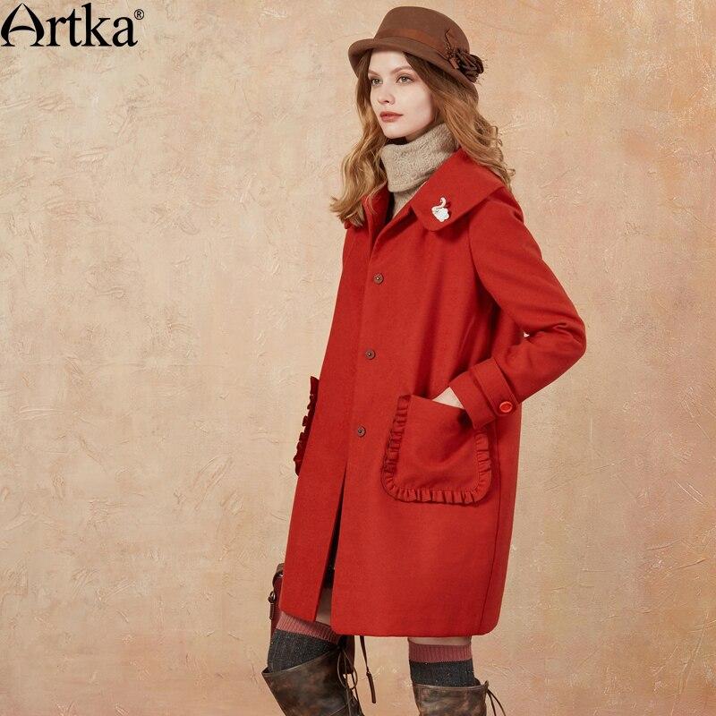 ARTKA Autumn Women s Jacket 2018 Winter Long Coat Brand Wool Blend Coat Women Elegant Outwear