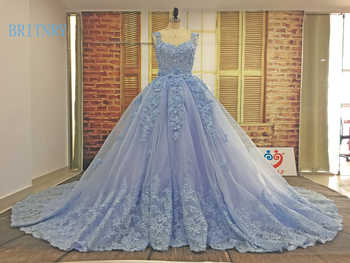 BRITNRY Elegant Scoop Sleeveless Lace Appliques Tulle Ball Gown Long Train Blue Wedding Dress Custom - DISCOUNT ITEM  0% OFF All Category