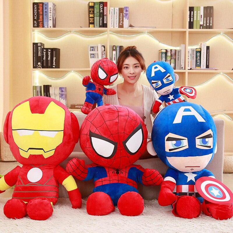 NEW 25-50cm Marvel Avengers Captain America Iron Man Spiderman Plush Toy Soft Stuffed Doll birthday Gift for Children Boys siêu nhân nhện bằng bông