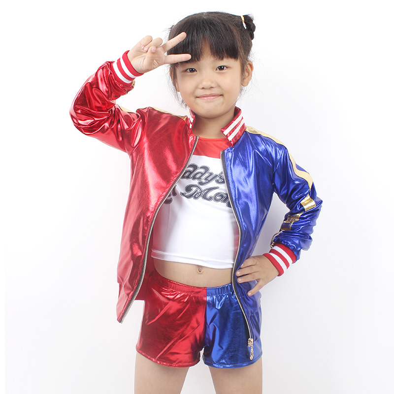 Mcoser Hot girls Harley Quinn costume jacket T-shirt Tee Daddys Lil Monster Suicide Squad Cosplay Halloween Costume for kids