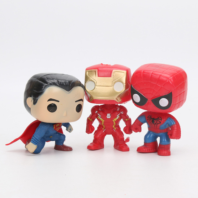 Marvel Avengers Iron Man Hulk Thor Spiderman The Flash Superman DC Justice League FUNKO Figures 8-10cm