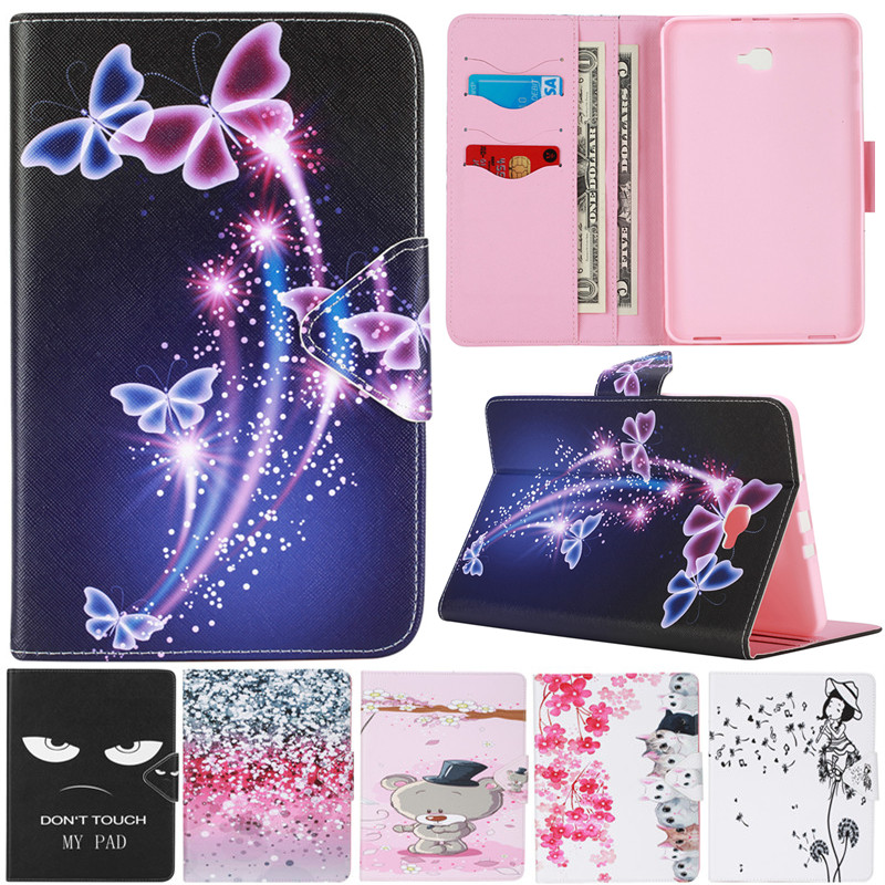 Cute Cartoon Dream Butterfly Flower Stand Flip Leather Case For Samsung Galaxy Tab A A6 10