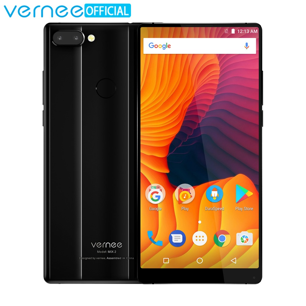 Vernee Mix 2 Mobile Phone 4G RAM 64G ROM MTK6757 Octa core 6.0 Inch 18:9 Display 13.0MP Android 7.0 Smartphone Dual Back Camera
