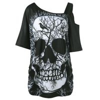 Plus Size Skew Collar Skull T Shirt
