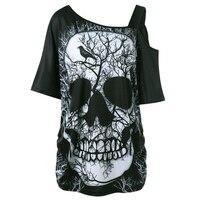 Plus Size Skew Collar Skull T Shirt