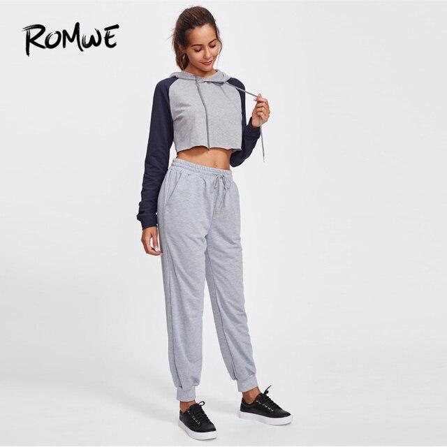 Romwe Спорт Серый шнурок талии марли женские спортивные брюки зимние штаны для бега упражнения на открытом воздухе спортивные упражнения для ... 3