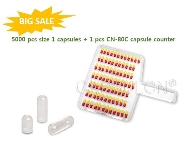 1 pcs CN-80C capsule counter + 5000 pcs joined Size 1 Clear Gelatin Capsules бюстгальтер patti belladonna белый 80c ru