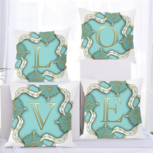 Fuwatacchi Gold Alphabet In A Turquoise Flowers Wreath Pillow Cover Blue Case for Sofa Home Decoration Flower Pillowcase