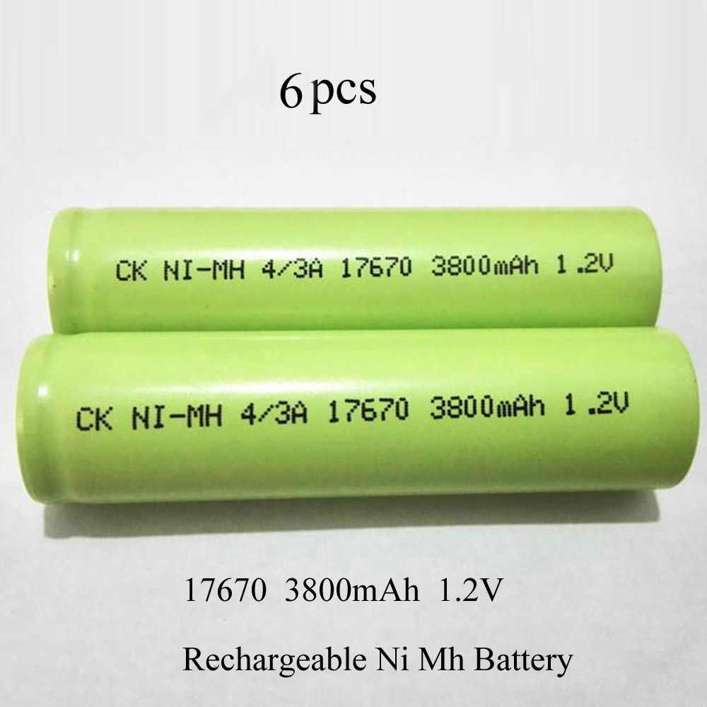 SORAVESS 6 pièces/12 pièces 1.2 v 17670 4/3A Ni-Mh Batterie Rechargeable 7/5A 3800 mAh Batteries NiMh Pour Nettoyeur Balayeuse Équipement Médical