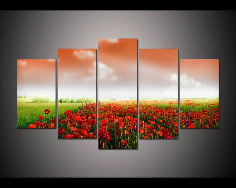 5 Panel Large HD Printed painting red sky corn poppy flower fields canvas print home decor Wall art Picture For Living room