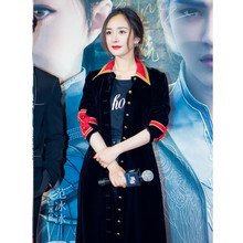 Women Top Fashion Winter Celebrity Runway Velvet Coat Long Sleeve Sequined Long Casual Trench High Quality Outerwear Coats