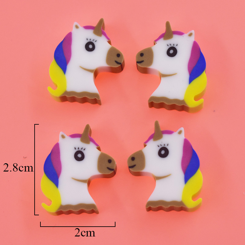 4 Pcs/lot Kawaii Mini Animal Dessert Erasers Cartoon Creative Unicorn Pencil Eraser For Kids Toys Gift Chancery Material Escolar