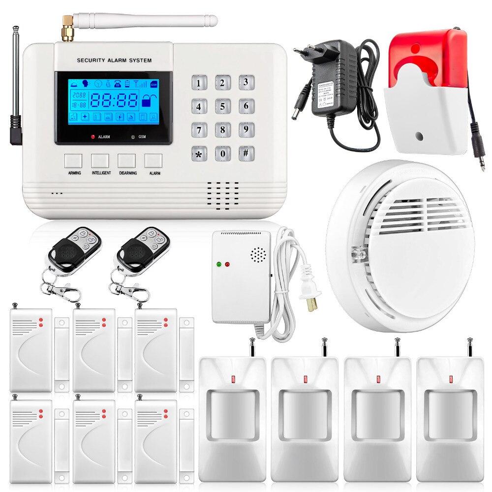 Free shipping Home Wireless GSM PSTN Alarm System Intelligent Home Security PSTN Alarm System with Smoke Sensor and Gas Sensor