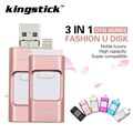 Kingstick 3 in1 usb flash Drive de Metal Pen drive 8G 16G 32G 64G otg memory stick micro 2.0 para iphone 6 s plus 5 5s ipad android
