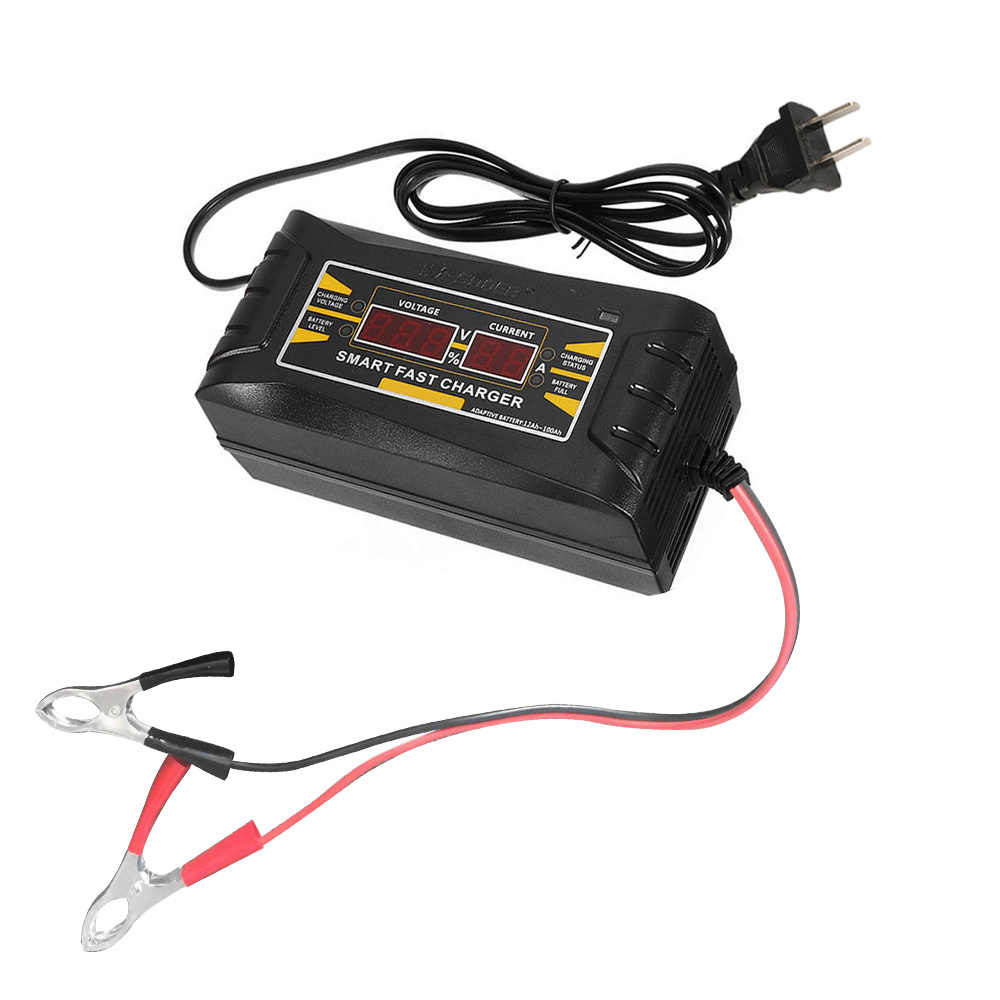 Penuh Otomatis Cerdas 12 V 10A Asam/Gel Baterai Charger LCD Display US Plug Smart Cepat baterai Charger Auto Aksesoris
