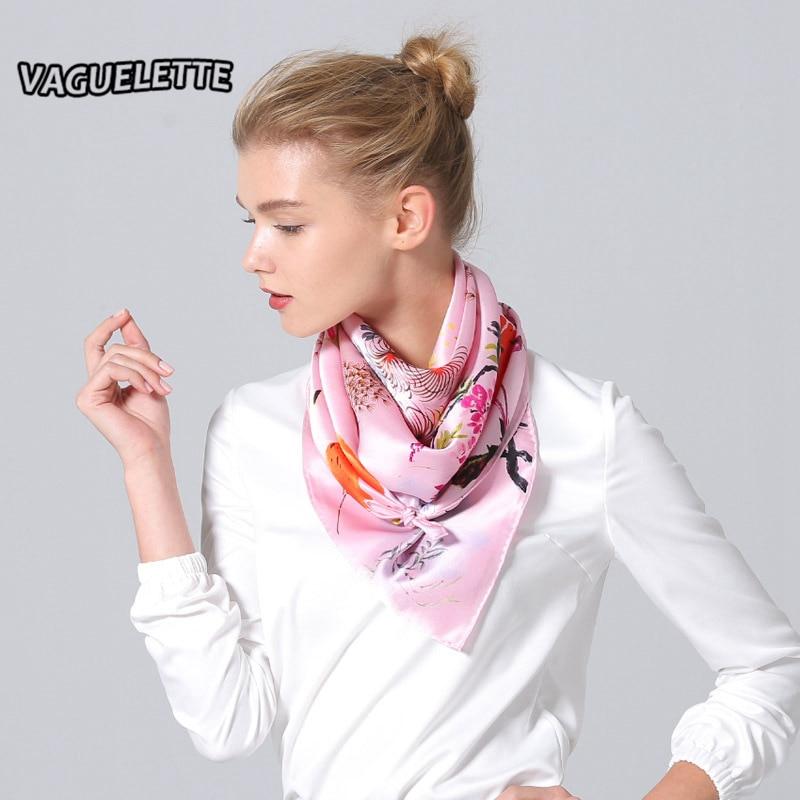 Luxury Foulard Femme Soie De Marque Chinese Style Digital Printed Winter Silk Scarf Square High Quality Hijab Scarf 90*90 CM