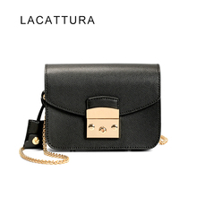 LACATTURA Women Messenger Bags Genuine Leather Famous Brand Designer Fula Bag Lady Small Chain Flap Girl's Candy Crossbody Bag