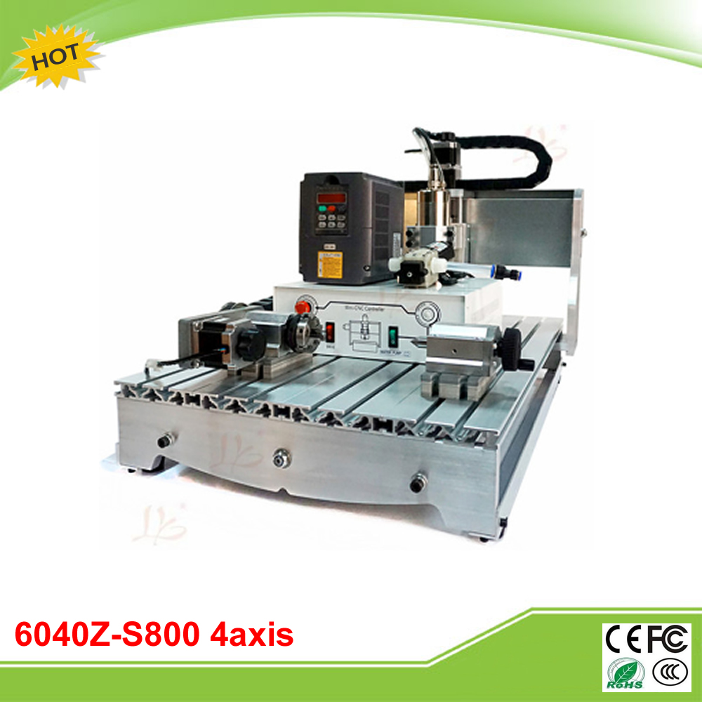 New CNC 6040Z-S800 4 axis mini CNC engraving machine 800W water cooling spindle usb port 6040z s 4aixs 800w spindle 1 5kw vfd cnc6040 cnc router water cooling metal engraving machine cnc machine cnc 6040