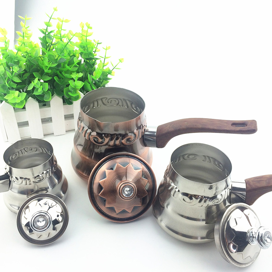 3pcs/lot Turkey Coffee Maker Stainless Steel Milk Coffee Pot with Wooden Handle Stovetop Mini Coffee Machine for Home Barista t handle vending machine pop up tubular cylinder lock w 3 keys vendo vending machine lock serving coffee drink and so on