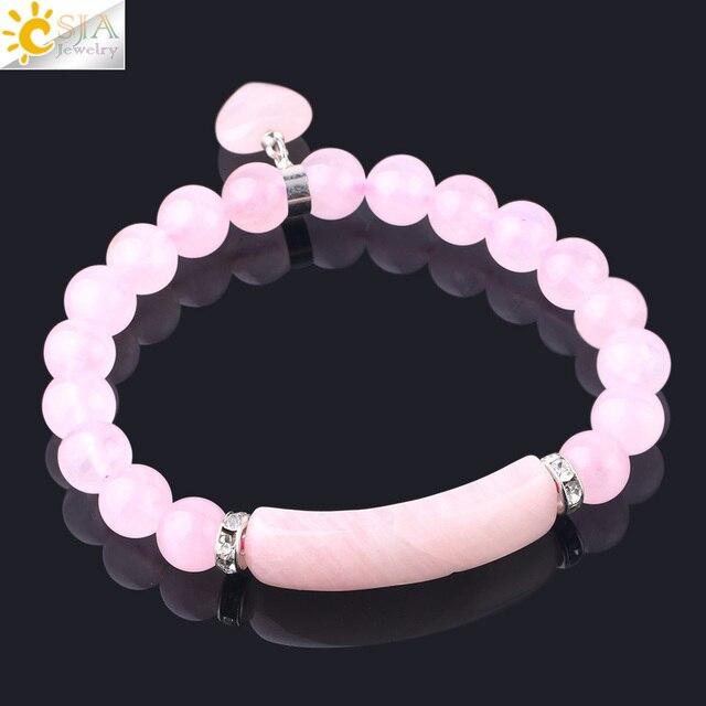 Фото браслет csja из натурального камня с розовыми кристаллами для цена