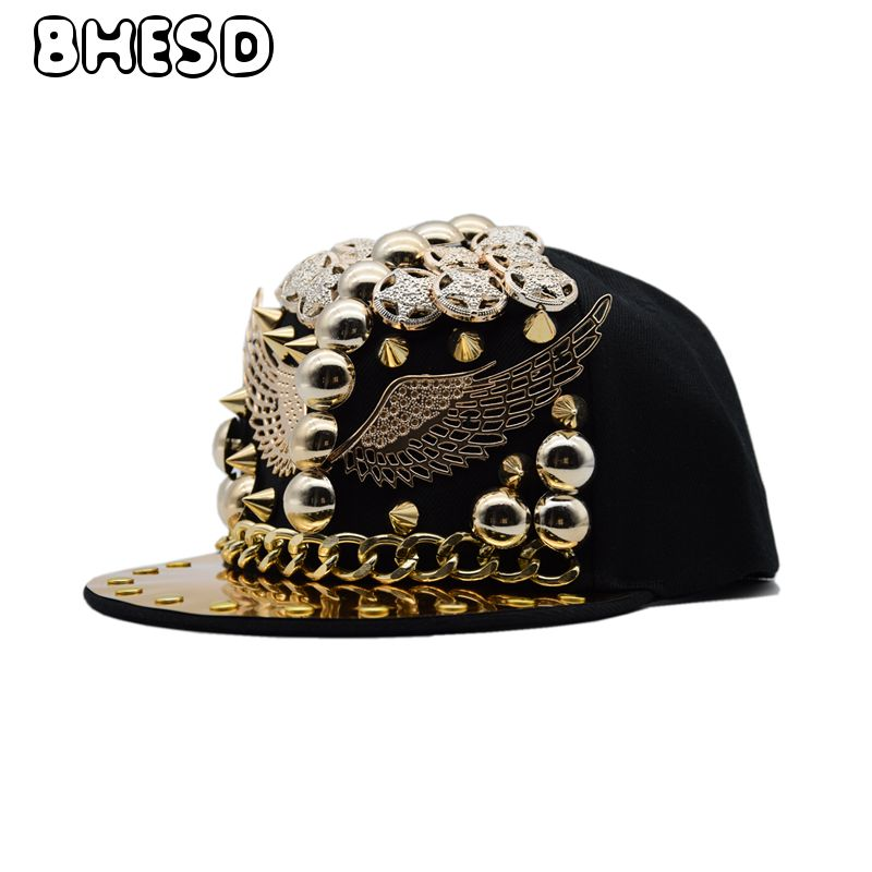 BHESD 2018 Punk Rivets Hip Hop Snapback Hat Men Women Street Fashion Flat Baseball Cap Dance Hat Hip-Hop Caps Casquettes JY694 fashion rivets cotton polyester fiber men s flat top hat cap army green