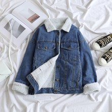 Spring Fur Jean Denim Jacket Women Winter Front Button Flap Pockets Bomber Coat