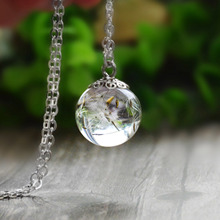 Handmade Dandelion Resin Transparent Pendant Necklace Wedding Gift Jewelry Dried Flowers Making Valentines Day