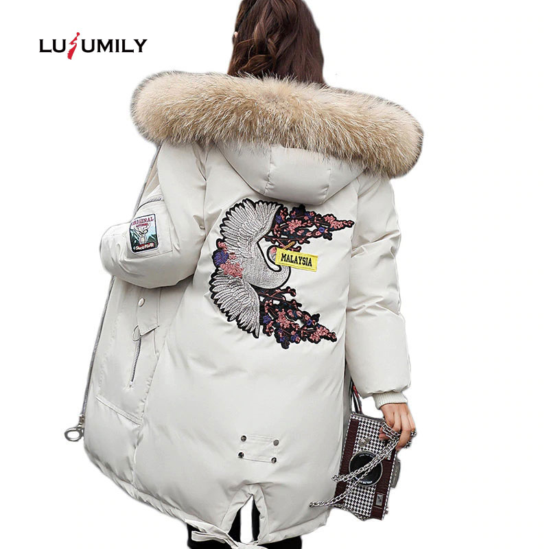 Lusumily 2019 Long Jacket Women Winter Down Jacket Hooded   Parka   Warm big Fur Thicken Women Cotton Coats Female Snow OutWear Park