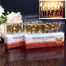 Gold Happy Birthday  Festival Supplies Lovely English Candles for Kitchen Baking Gift Cake Party