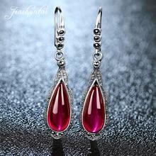 цена JIASHUNTAI Retro 100% 925 Sterling Silver Earrings For Women Vintage Red Ruby Gemstone Earrings Jewelry Female онлайн в 2017 году