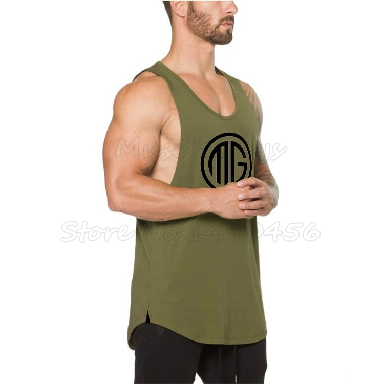 Muscleguys Brand Fitness Mens Tank Top Bodybuilding Clothes gyms Shirts Slim fit Vests Cotton Singlets MG letter printed tanktop
