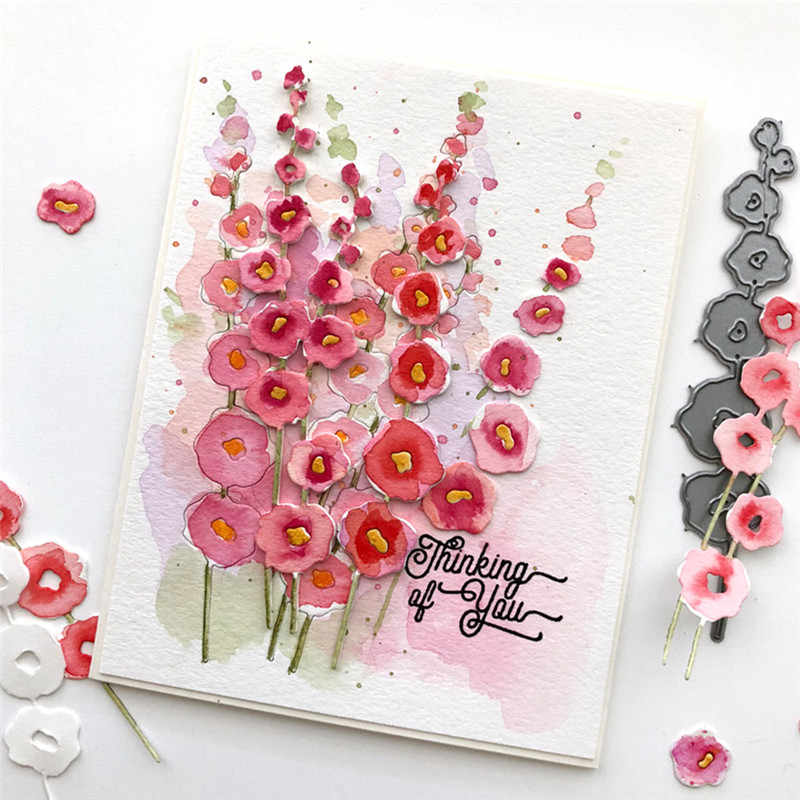 GJCrafts Hollyhocks Flower Metal Cutting Dies New 2019 for Craft Dies Scrapbooking Album Stencil Die Cut New Dies for 2019