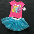 oringal brand,6sets/lot Little Pony T shirt and Skirts 2-piece Set for 2-7 Baby Girls,My Best Friend Girls Shirt set