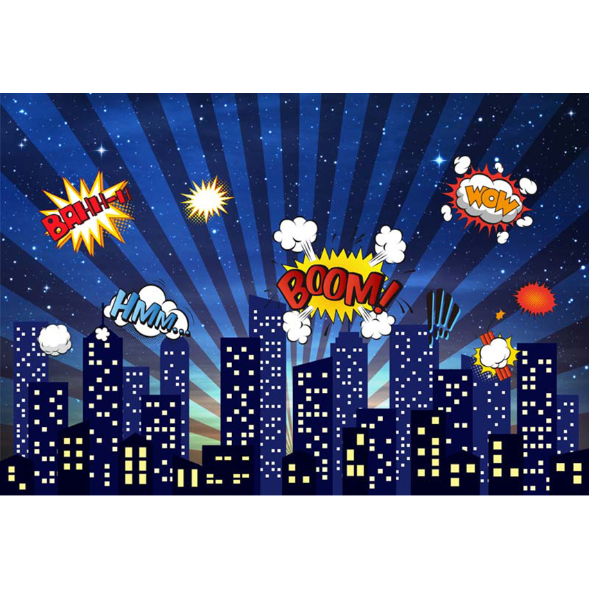 Vinyl Superhero City building Theme Photography Backdrop Children Birthday Party Backdrop for Photo Studio Background