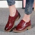 2017 новая мода женская обувь зашнуровать обувь оксфорд для женщины квартиры повседневная низком каблуке весна осень кожаные ботинки женщин мокасины