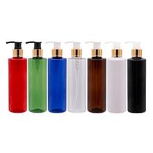 250Ml X 25 Rode Kleur Pet Materiaal Goud Aluminium Schroef Lotion Pomp Plastic Flessen Voor Cosmetische Verpakkingen Persoonlijke Verzorging container