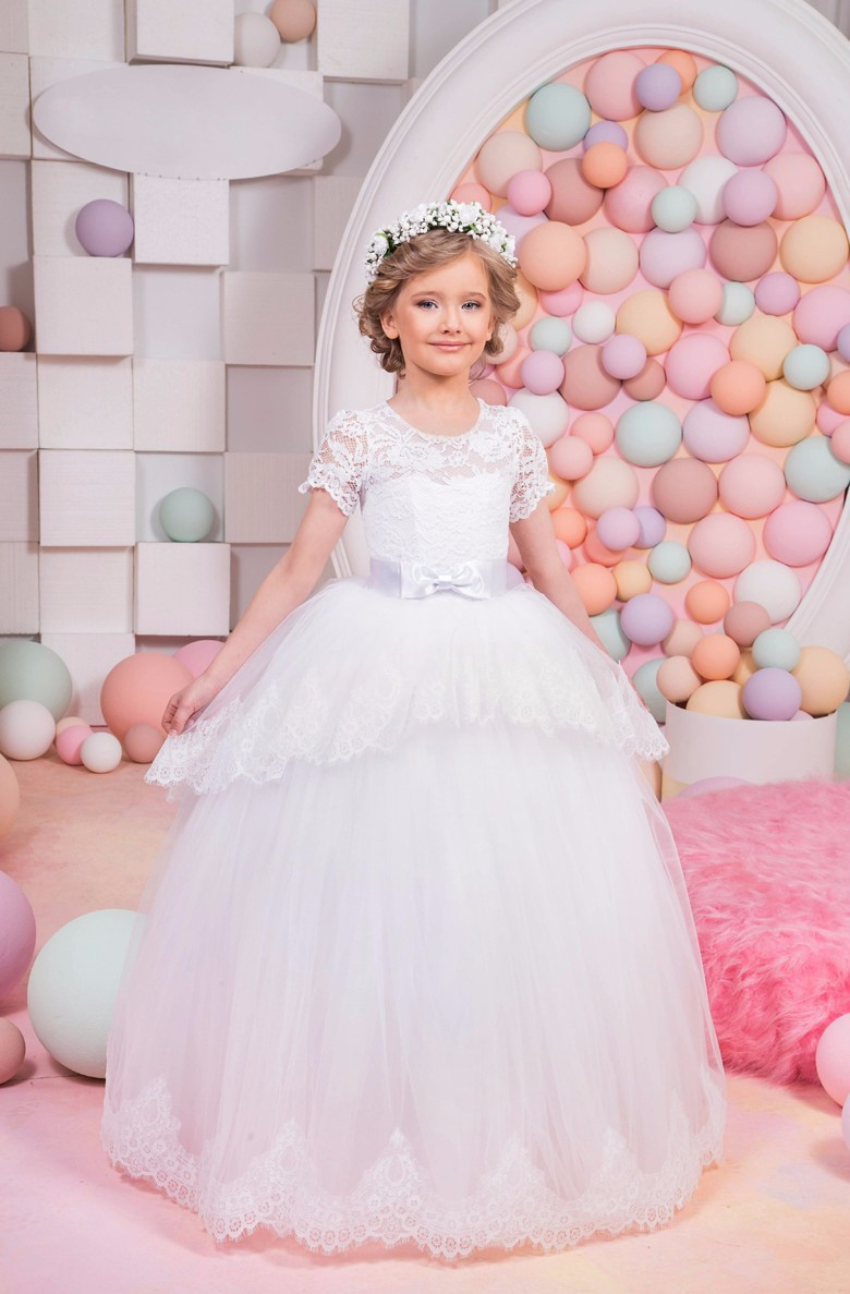Short Sleeve Lace Flower Girl Dress Tulle Girls Pageant Dresses Little for Girls Gown Ball Gown Holy Communion Dress For Wedding fancy pink little girls dress long flower girl dress kids ball gown with sash first communion dresses for girls