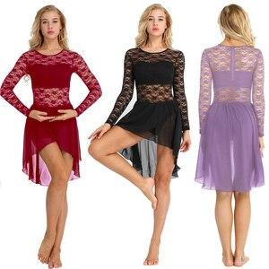 Image 2 - TiaoBug robe Tutu de Ballet en mousseline de soie à manches longues, avec motif Floral pour femme, Costumes de gymnastique et de danse lyrique
