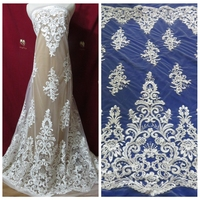 1yard off white/pure white guipure lace fabric ployester on netting embroidered elegent wedding dress lace fabric