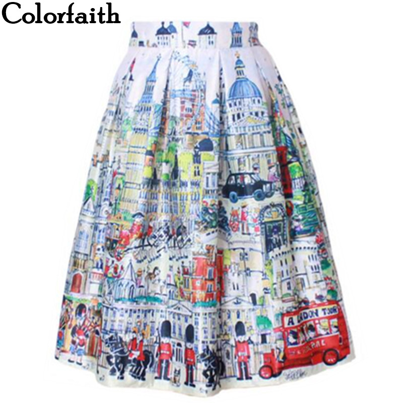 2016 Retro Vintage Ladies Fashion Village Scenery Print High Waist Flared Pleated Midi Skirt Holiday Wear Saia Femininas SK8107