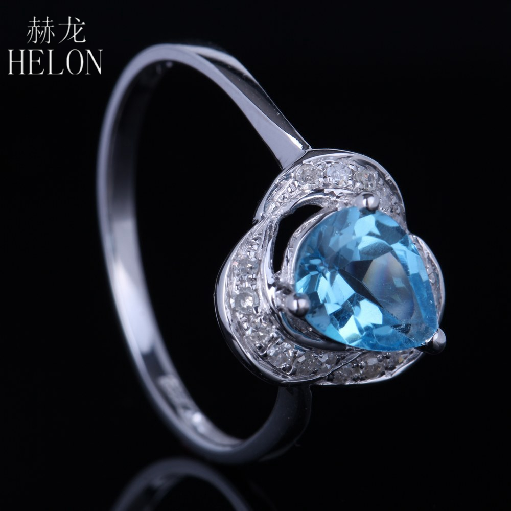 HELON 925 Sterling Silver 925 Pear Cut Genuine Blue Topaz Pave Natural Diamonds Jewelry Engagement Wedding Exquisite Women RingHELON 925 Sterling Silver 925 Pear Cut Genuine Blue Topaz Pave Natural Diamonds Jewelry Engagement Wedding Exquisite Women Ring