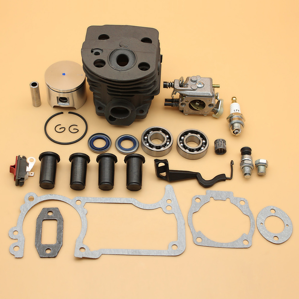 46MM Cylinder Piston Carburetor AV Buffer Choke Rod Gaskets Kit For Husqvarna 55 51 Chainsaw w/ Compression Release Value Plug