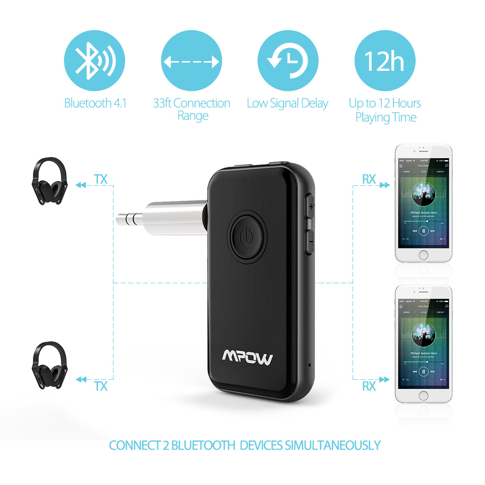 Mpow Bluetooth Receiver /& Transmitter 2 in 1 Wireless Music Adapter Home//Car Lot
