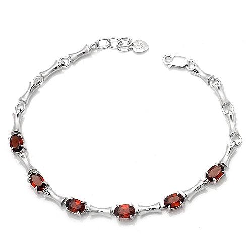Bracelet grenat naturel 925 en argent Sterling femme Fine élégante gemme rouge bijoux fille pierre de naissance cadeau saint-valentin SB0053G